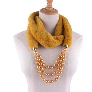 Winter Women Solid Color Fur Scarf Warm Jewelry Scarves Pearls Pendant Female Neck Ring Wraps