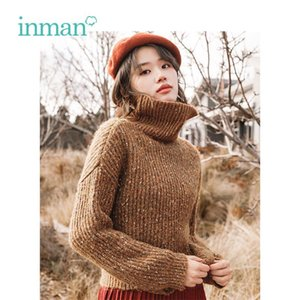 INMAN Winter New Arrival Female High Collar Warm Literary Retro Woman Pullover Sweater