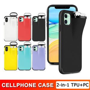 Новые 2 в 1 Заголовок для гарнитуры Телефон Чехол Чехол Наушники Коробка для хранения для iPhone 12 Mini 11 Pro XS MAX XR X 7 8 Отдохрительная крышка сплошного цвета