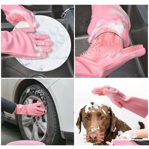 magic silicone dish washing gloves kitchen accessories dishwashing glove household tools for cleaning car pet brush Dma9W