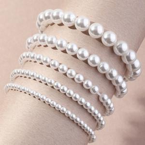 Imitación perla abalorios brazaletes multi pendientes mano cuerda línea elástica línea moda mujer cadena pulsera encanto amor joyería accesorios 5nz n2