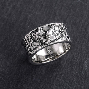 Vintage Wolf Finger Ring for Women Men Animal Wolf Ring Gift for Love Couple Fashion Jewelry Size 6-12