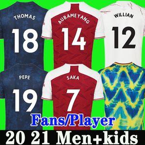 Fans Version joueur Arsenal quatrième maillots de football 20 21 PEPE SAKA THOMAS WILLIAN NICOLAS TIERNEY MAITLAND-NILES maillot de football Hommes Enfants 4ème