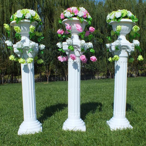 New Arrival Fashion White Roman Column Wedding Centerpiece Road Lead with the Vase and Bouquet Sets for Party Event Decoration Props