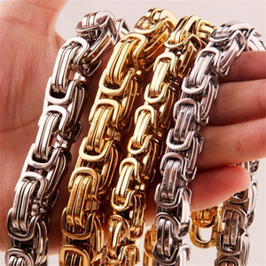 Huge Heavy Gold Silver Byzantine Box Chain 316L Stainless Steel Mens Necklace Width 12 15MM,length Size 24inch