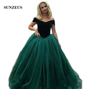 Dark Green Velvet Prom Dresses Sweetheart Off the Shoulder Puffy Tulle A-Line Evening Party Gowns Girls Graduation Dresses SP01