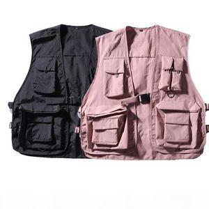 Hip Hop Loose Vest Sportswear Mens Pink Cargo Waistcoat with Pockets Jacket Coat Streetwear Tactical Vests Sweatshirts