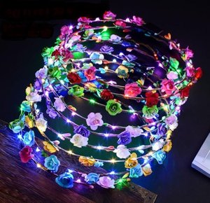 2017 Flashing LED Glow Flower Crown Headbands Light Party Rave Floral Hair Garland Wreath Wedding Flower Girl Headpiece decor