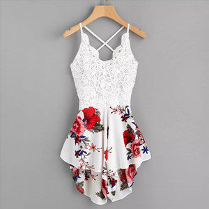 Womens Crochet Lace soft and comfortable Panel Bow Tie Back Florals Ladies Summer Shorts Jumpsuit L50 0116