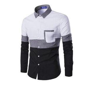 New 2020 Oxford Men Long Sleeve Shirt Spring Autumn Patchwork Pocket Men's Casual Shirt Cotton Slim Fit White Men Clothing M-2XL