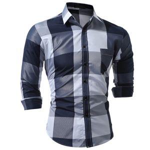 Brand 2017 Fashion Male Shirt Long-Sleeves Tops Fashion Hit Color Big Plaid Mens Dress Shirts Slim Men Shirt 3XL