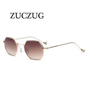 Óculos de sol Zuczug Polígono Hexagonal Mulheres Homens Do Vintage Designer Lens Hexágono Metal Quadro Eyewear oculos1