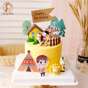 Ridding Horse Boy Farm tent Animals Happy Birthday Cake Topper for Party Decoration Baking Suplies Child Kid Boy love Gifts