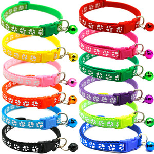 Pet Footprint Cat Dog Collar With Bell Adjustable Buckle Safety Collar Small Cat Puppy Neck Collars Leash Pet Product 12 Colors