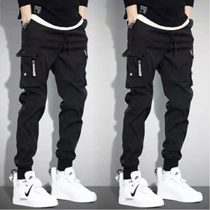 5XL Men Vintage Cargo Pants 2019 Male Hip hop Khaki Black Pockets Joggers Pants Man Korean Fashion Sweatpants Autumn Overalls T200219