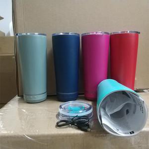 18 oz creativo con la taza de música de Bluetooth 5 colores Cara de vino de acero inoxidable con altavoz y cable USB Copa de agua Práctica Año Nuevo Regalo