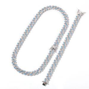HOT Hiphop Set jewelerys,diamond neckalce Cuban chains bracelet, New micro-inlaid navy blue zircon Cuban chain Neckalce bracelet 8mm NNT136