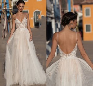Beach Boho Wedding Dresses Spaghetti Straps Lace A Line Bridal Gowns 2021 Sexy Backless Bridal Gowns Sweep Train Vestidos De Novia AL8687