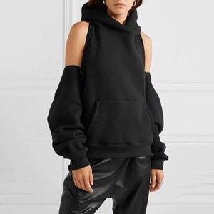 Women Hoodie Sweatshirt Reversible Off Shoulder Fleece Hooded Sweatshirt Pullover Tracksuit High Street Y1116
