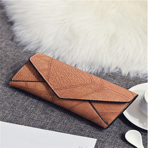 Designer-New fashion Europe and America simple solid color PU stitching in the long paragraph mother woman casual wallet handbag