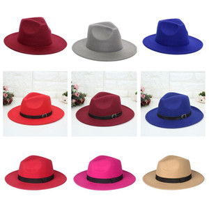 Women Wide Brim Hats Men Top Hat Jazz Formal Hat Man Panama Cap Lady Felt Fedora caps Woman Trilby Chapeau Fashion Accessories wholesale NEW