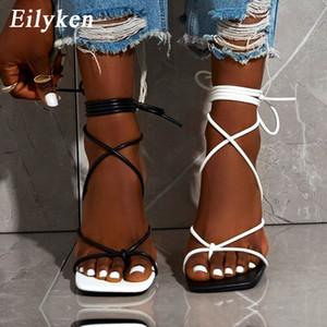 Eilyken New Mode Sexy Sexy Sandales Sandales Sandales Square Toe Talon mince Chaussures de soirée Croix High Heel High Heel 9cm Noir Blanc Taille 35-42 C0202