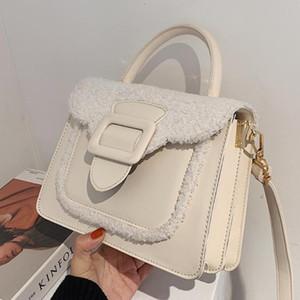 Designer- Elegant Female Plush Tote bag New High quality PU Leather Women's Designer Handbag Contrast color Shoulder Messenger Bag