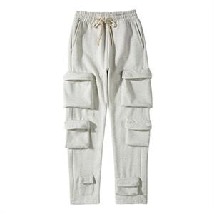 Multi-Pocket Joggers Fleece Sweetpants Mens Solid Streetwear Drawstring Casual Harem Pants Black Blanco Pantalones sueltos
