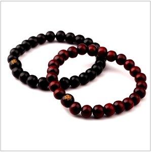 Free shipping Fashion Men Hip Hop Jewelry For Mens Beaded Jewelry Men Black Brown Wood Bead Bracelets Sandalwood Buddhism Buddha Meditation
