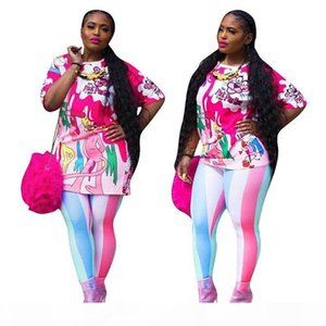 Fashion XL Plus Size Sport 2pcs Women Set Tracksuits print leisure Pullover T Shirt + Pants Jogging Suits Sportswear