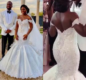 Luxury Arabic African Mermaid Wedding Dresses 2021 Off Shoulder Backless Crystal Rhinestones vestidos de fiesta Bridal Gown