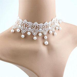 Elegant Vintage Imitation Pearl White Lace Statement Choker Necklaces Bridal Jewelry For Women Wedding Fashion