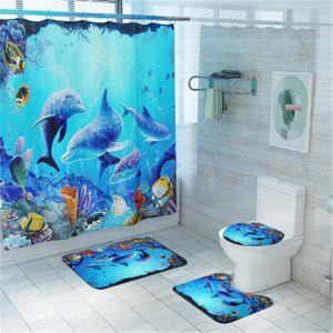 Коврик для ванной комнаты Набор нескользящихся Долфина Рыбный коврик для ванны Коралл Флис Душевая Занавеска Коврик Для Душевой Душевый Коврик Моющийся Туалет Коврик LJ201125