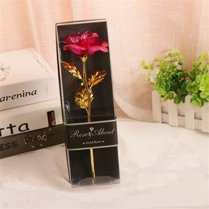 Valentine Lover Gifts Wholesale Single Gold Flower PVC Gift Box Rose Carnation With Gold Leaf Valentine Birthday Present Shipping By air A12