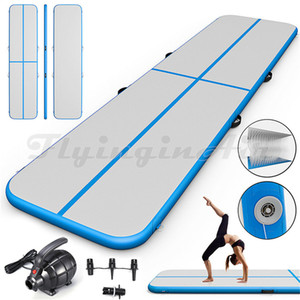 Blue Air Track Soft Inflatable Gymnastics Tumbling Floor Yoga Mat 3m 6m 10m Long Air Blown Taekwondo Backflip Traning Mat For Gym