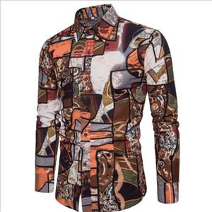 Bohemia Beach Shirts For Men Summer Style Long Sleeved Wedding Dress Shirt Man Casual Nice Shirts Men Plus Size 5XL A408