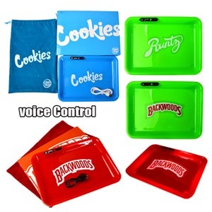 Rechargeable Cookies LED Rolling Tray Built-in Battery LED Light Glowtray Voice Control USB Charger Runtz Runty Backwoods With Packaging