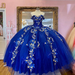 Royal Blue Ball Gown Quinceanera Dress Off the Shoulder 3D FLower Lace Girls Quinceanera Party Gowns Vestidos
