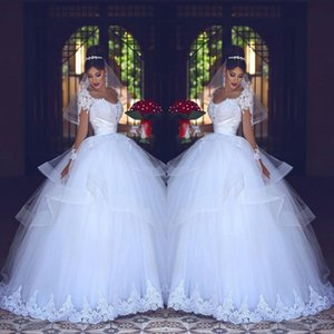 Romantic Ball Gown Wedding Dresses White Lace Sheer Long Sleeves Bridal Gowns Tulle Tiered Saudi Arabic Vestidos Custom Made P141