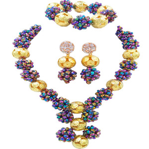 Multicolor Plated African Beads Jewelry Set Crystal Ball Beaded Necklace Bracelet Earrings Sets 1SJQ07