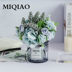 MIQIAO Nordic Lass Bottle Charming Rose Flower Gerbera Daisy For Wedding Home Accessories Decoration Room Decor Q1123