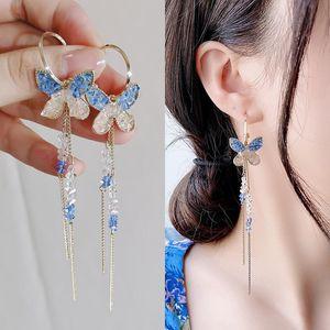 New Fashion Long Chain Dangle Drop Earrings For Women CZ Zircon Geometric Earring Bohemian Wedding Earrings