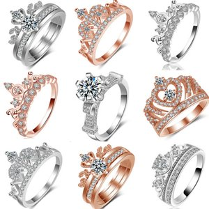 k Gold Plated Zircon Crown Wedding Rings for Women Diy Style Princess Rings Tiara Crown Wedding Engagement Ring for Lady Fashion Jewelry