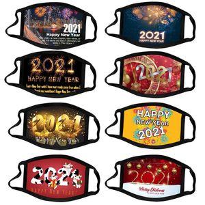 Happy New Year Face Mask Chrismas Party Masks Washable Reuseable Face Mask Digital Printed Protection Cotton Men Women Masks EWB3428