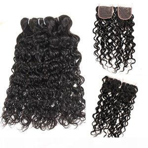 Peruvian Water Wave Bundles with Lace Closure Unprocessed Virgin Human Hair Weave Weft with Lace Closure Free Middle 3 Part Double Weft