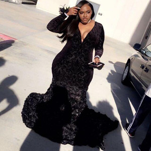 Plus Size Prom Dresses Mermaid Black Lace Plunging V Neck Long Sleeve Evening Gowns With 3D Flowers African Black Girl Dresses
