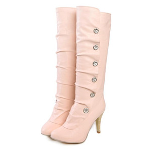 Super High Heel Metal-Breasted Pleated Knee-Length Boots Pointed Wood Grain Stiletto Heel Pink Short Plush Sleeve Women's Boots