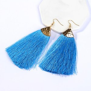 Bohemian alloy Long Tassel Earrings Black Blue Pink Silk Fabric Drop Dangle Earrings Women Jewelry For Party Beach