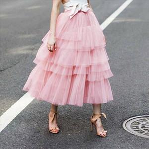 Women Tulle Skirt Vintage colorful Tutu Petticoat Ball Gown Skirt Clothing Female Jupe Femme Womens Faldas Summer 2020