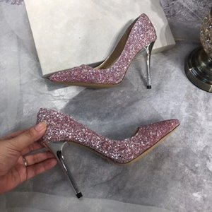 Hot Sale-Free shipping Fashion women Casual Designer lady pink Glitter real leather new pointy toe flats pumps shoes praty shoes bride